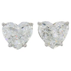 Heart Diamond White Gold Stud Earrings
