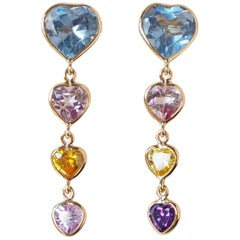 Heart Earrings Tourmaline Aquamarine Amethyst Gold