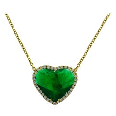 Heart Emerald Diamond Yellow Gold Pendant Necklace