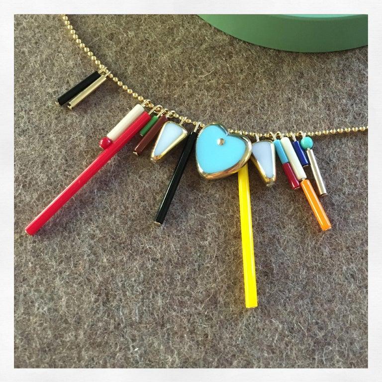 Retro Heart Fringe Necklace, n1904 For Sale