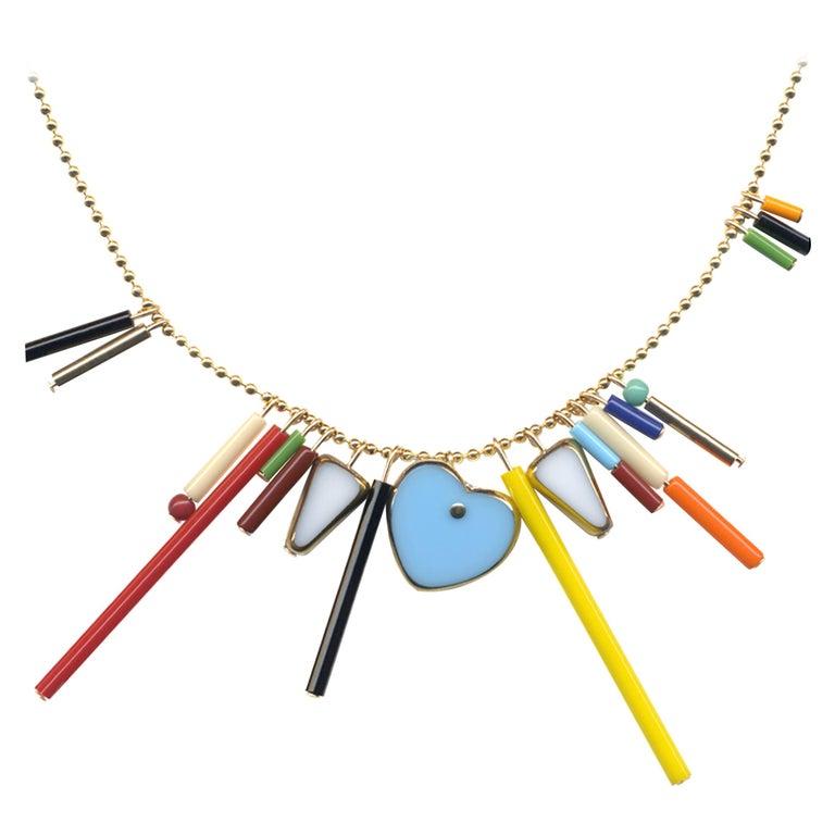 Heart Fringe Necklace, n1904 For Sale