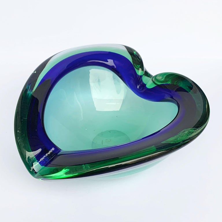 Heart Glass Bowl or Ashtray Green and Blue, Glass Sommerso Murano, Italy, 1960s For Sale 2