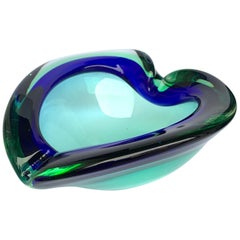 Heart Glass Bowl or Ashtray Green and Blue, Glass Sommerso Murano, Italy, 1960s
