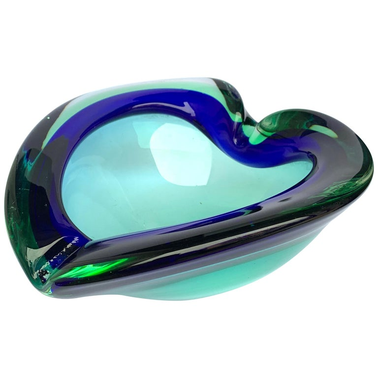Heart Glass Bowl or Ashtray Green and Blue, Glass Sommerso Murano, Italy, 1960s For Sale