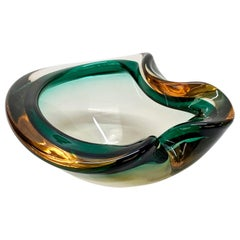 Heart Green and Amber, Glass Sommerso Murano Glass Bowl or Ashtray, Italy, 1960s