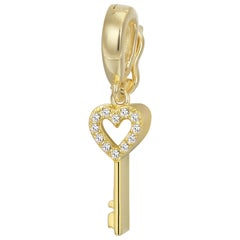 Heart Key Pave Pendant or Charm