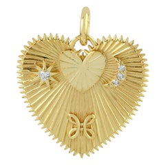 Heart Love Medallion 14 Karat Gold Charm Diamond Pendant Necklace