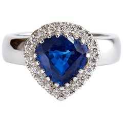 Heart Mixed Shape Certified 3.33 Carat Sapphire and Diamond White Gold Ring