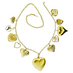 Heart Motif Gold and Diamond Dangling Necklace, circa 1960