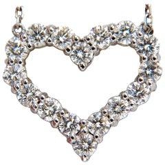 Heart Natural Diamonds Necklace 14 Karat G/VS Common Prong