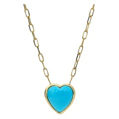 Heart of Gold Turquoise Necklace, 18kt Yellow Gold