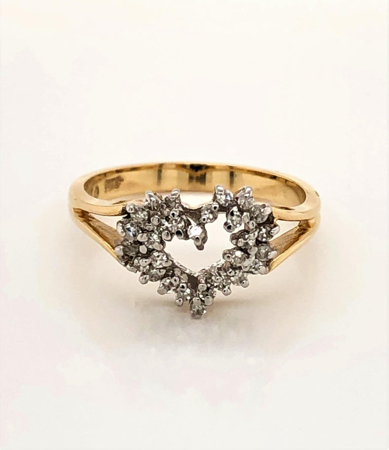 Heart of Gold with Diamond Ring For Sale 4
