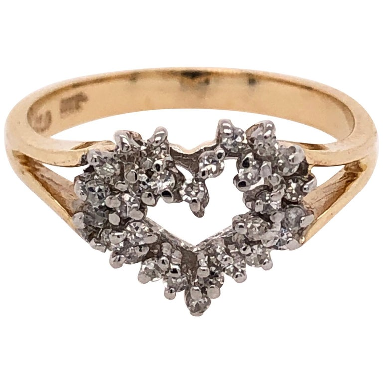 Heart of Gold with Diamond Ring For Sale