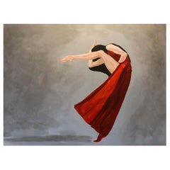 Heart on Fire 2018, Figurative Dancer, Mixed-Media Canvas Painting, Red and Gray