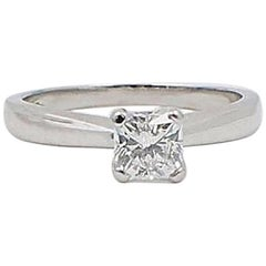 Heart on Fire Square Dream Cut 0.648 Carat H SI1 Diamond and Platinum Ring