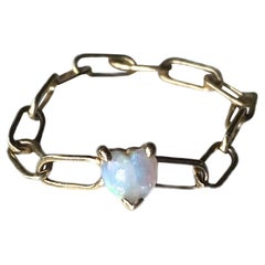 Heart Opal Chain Ring 14K Gold J Dauphin