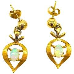 Heart, Opal Colorful Stud, Drop Earrings, 14 Karat