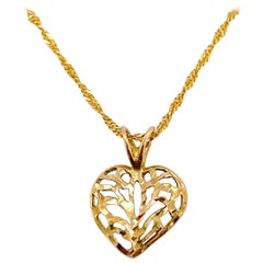 Heart Pendant Necklace Puffed with Diamond Cut Love Heart Pendant with 14k Chain