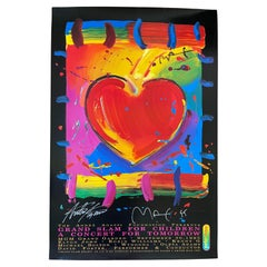 Heart Poster Signed by Peter Max & Andre Agassi