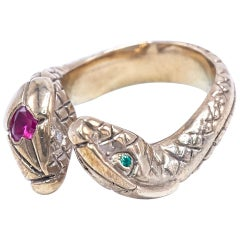 Snake Heart Statement Bronze Ring Ruby White Diamond Green Emerald J Dauphin