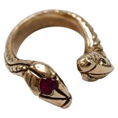 White Diamond Emerald Heart Ruby Snake Ring Bronze Cocktail J Dauphin