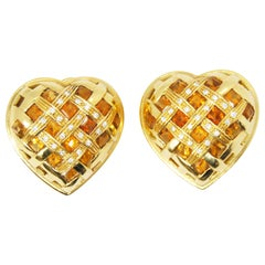Heart Shape 18 Karat Clip-On Earrings with Diamonds and Quartz Citrines