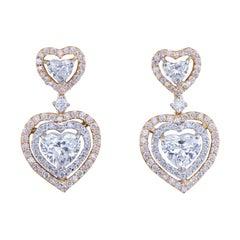 Heart Shape 6.75 Carat Diamond Halo Drop Earrings 18 Karat White Rose & Gold GIA
