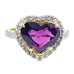 Heart Shape Alamandite Garnet with Diamond Ring Set in 18 Karat Gold Settings