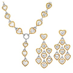 Heart Shape and Fancy Yellow Diamond Matching Necklace and Earrings Set
