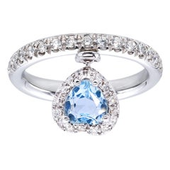 Heart Shape Aquamarine Ring with Diamonds from d'Avossa True Love Collection