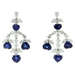 Heart Shape Blue Sapphire and White Diamonds Dangle Earrings