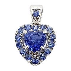Heart Shape Blue Sapphire Pendant Set in 18 Karat White Gold Settings