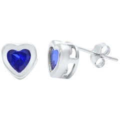 Heart Shape Blue Sapphire Stud Earrings 18 Karat White Gold