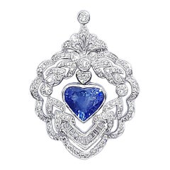 Heart Shape Blue Sapphire with Diamond Pendant Set in 18 Karat White Gold