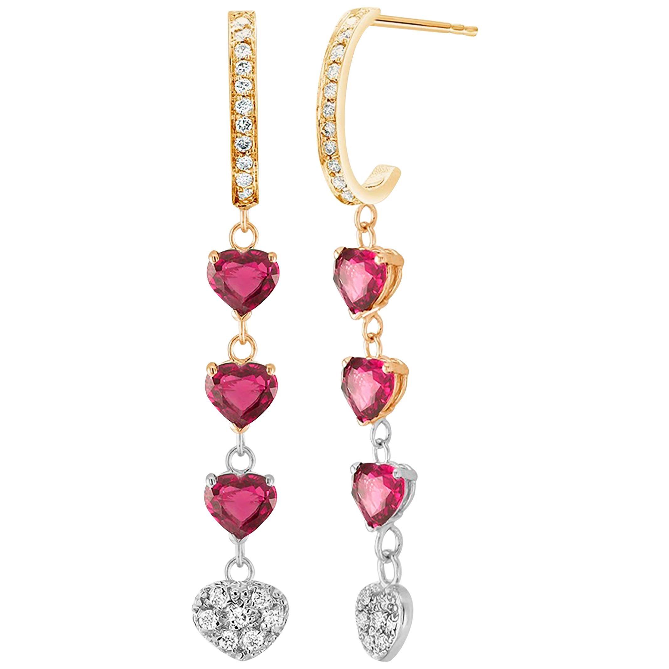 Six Heart Shape Burma Ruby and Diamond Yellow and White Gold Hoop Drop Earrings