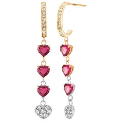 Heart Shape Burma Ruby Diamond Yellow and White Gold Hoop Drop Earrings