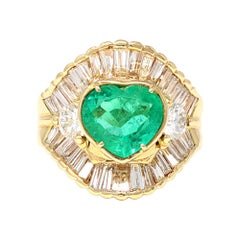 Heart Shape Colombian Emerald and Diamond Cocktail Ring, Circa 1980