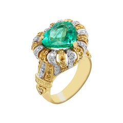 Heart Shape Colombian Emerald Yellow and White Diamond Cocktail Ring Stambolian