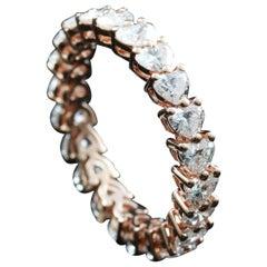 Heart Shape Diamond 1/10 Carat Eternity Ring in 18 Karat Gold