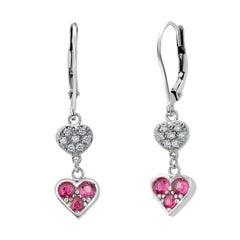 Heart Shape Diamond and Ruby White Gold Hoop Drop Earrings