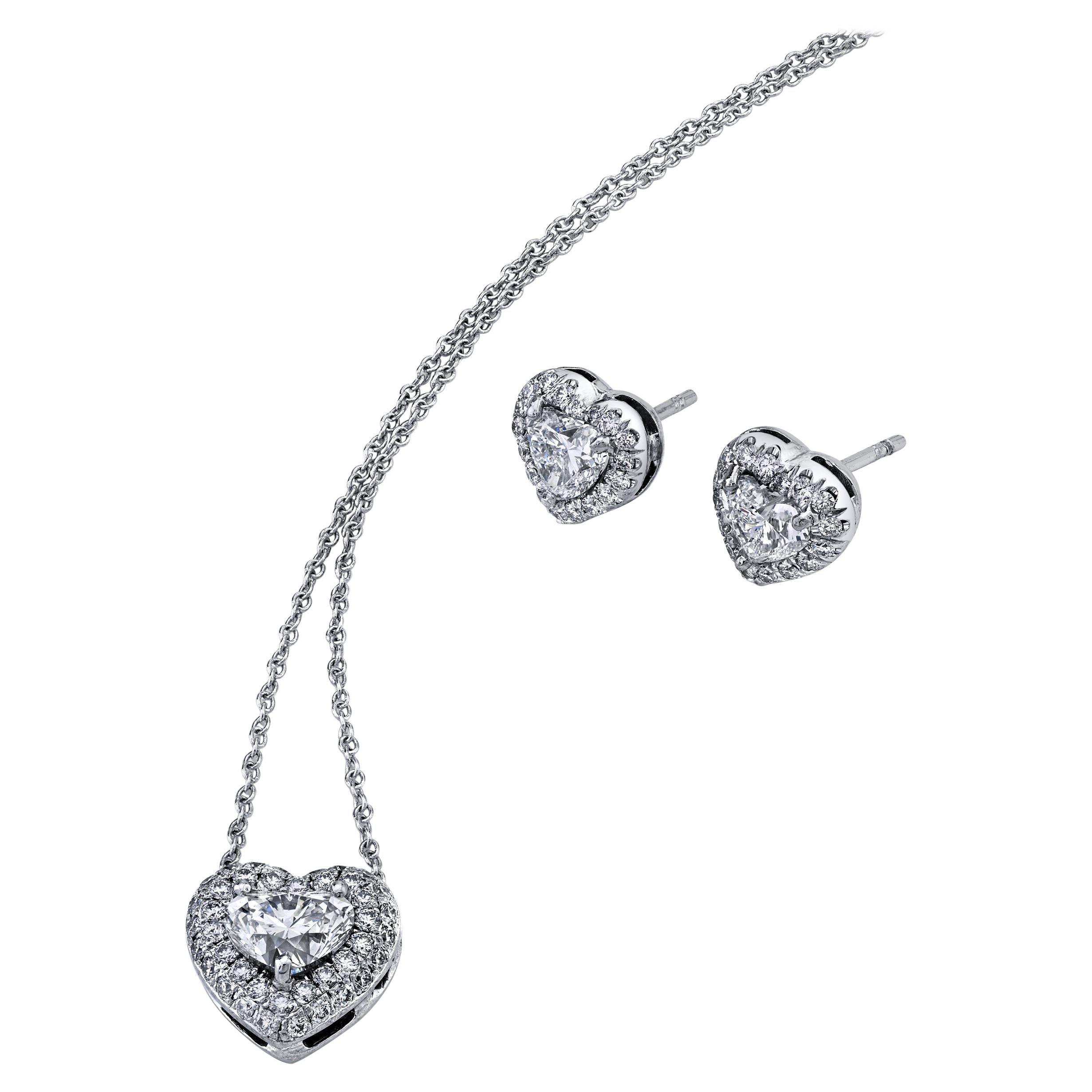 Heart Shape Diamond Earrings and Pendant Set 2.79 Carat Platinum/18KWG