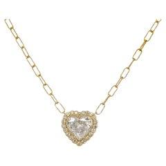 Heart Shape Diamond Halo Pendant in 14K Yellow Gold