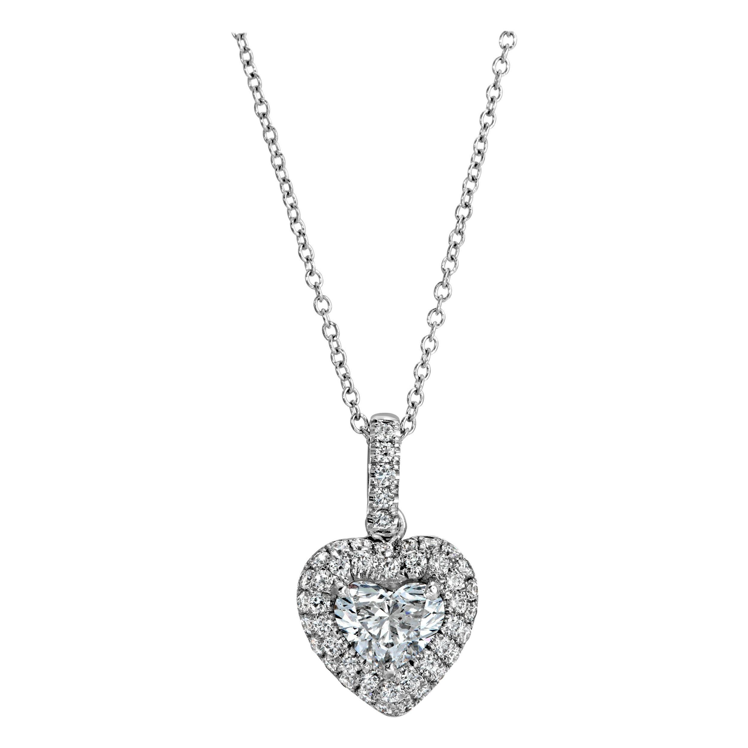 Heart Shape Diamond Pendant 1.35 carat 18KWG