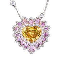 Heart Shape Diamond Pendant with Brownish Yellow Diamond