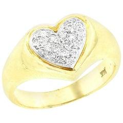 Heart Shape Diamond Ring, 14 Karat Yellow Gold