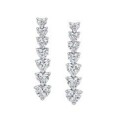 Heart Shape Diamonds Drop Earrings