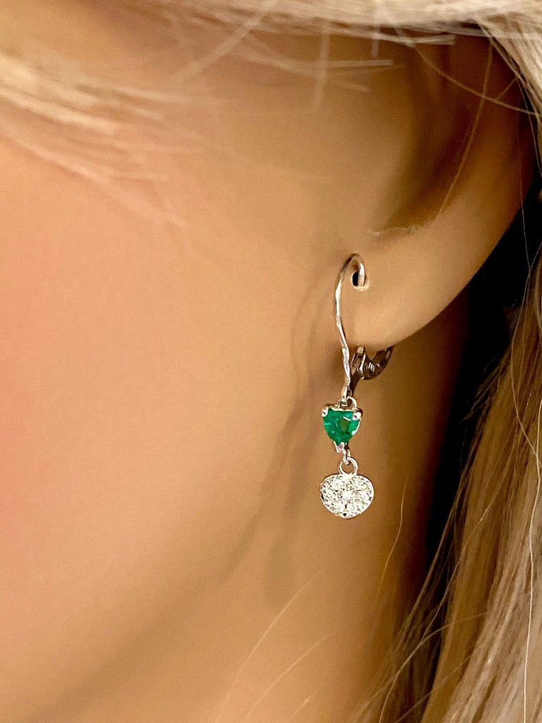 Contemporary Heart Shape Emerald and Diamond White Gold Hoop Earrings For Sale