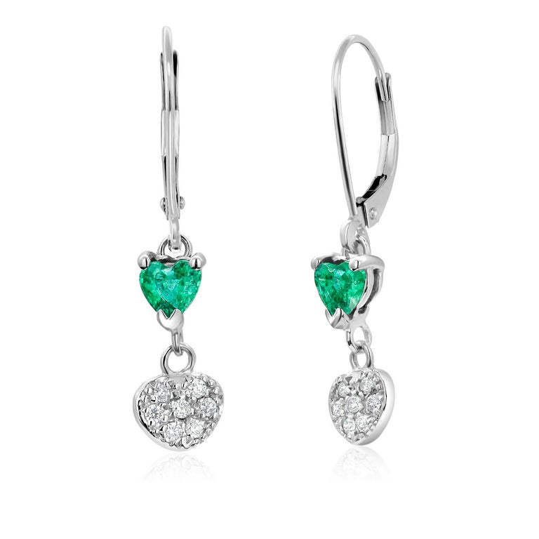 Heart Cut Heart Shape Emerald and Diamond White Gold Hoop Earrings For Sale