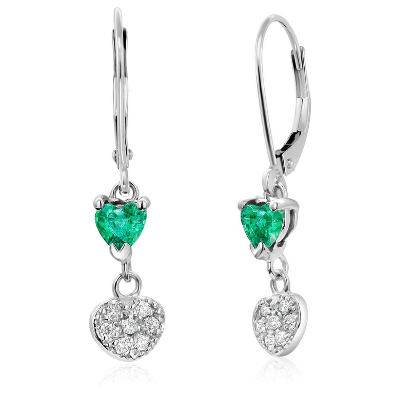 Heart Shape Emerald and Diamond White Gold Hoop Earrings In New Condition For Sale In New York, NY
