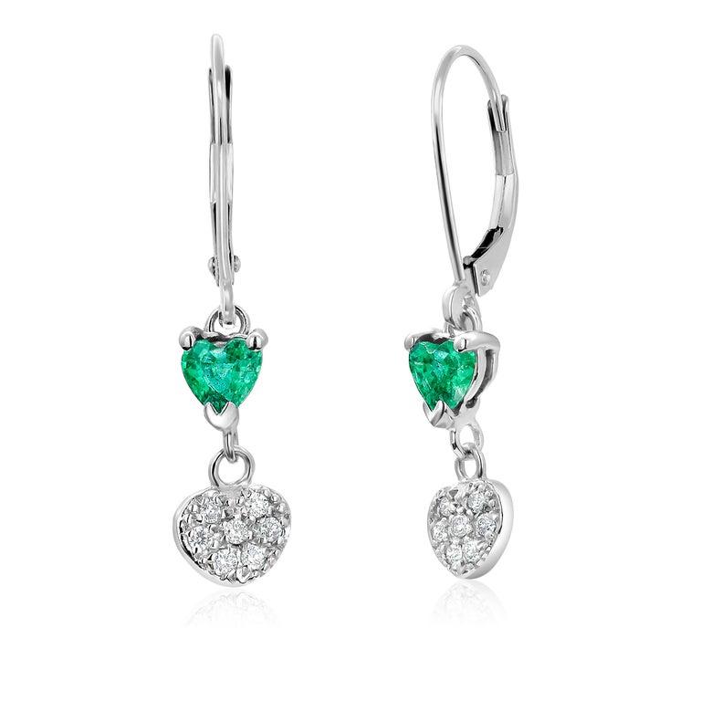 Women's Heart Shape Emerald and Diamond White Gold Hoop Earrings For Sale